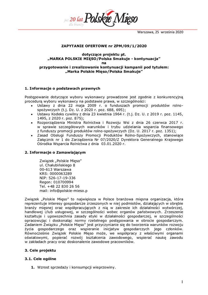 thumbnail of Marka Polskie Mięso – zapytanie ofertowe 2020 – 09-1-2020