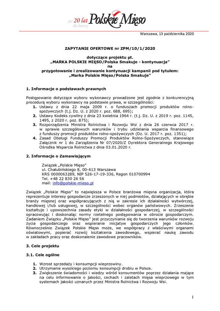 thumbnail of Marka Polskie Mięso – zapytanie ofertowe 2020 – 13.10.2020