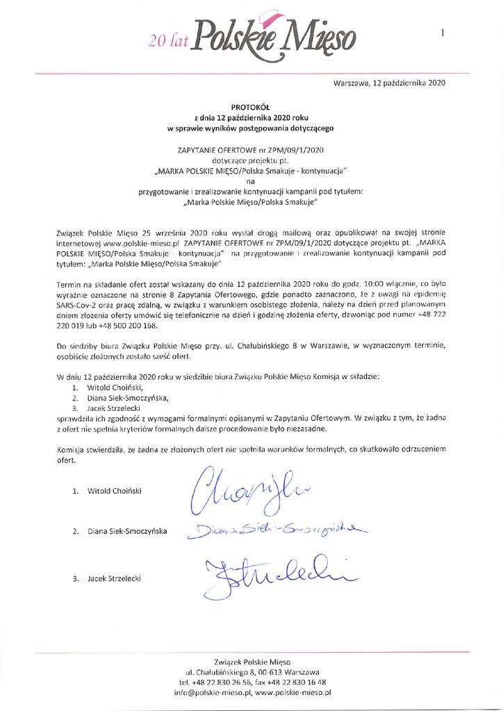 thumbnail of Protokół Zapytanie Ofertowe – Marka Polskie Mięso 12.10.2020